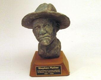 Mather - Park Ranger.  bust of Stephen Mather, 1st Director, US National Parks