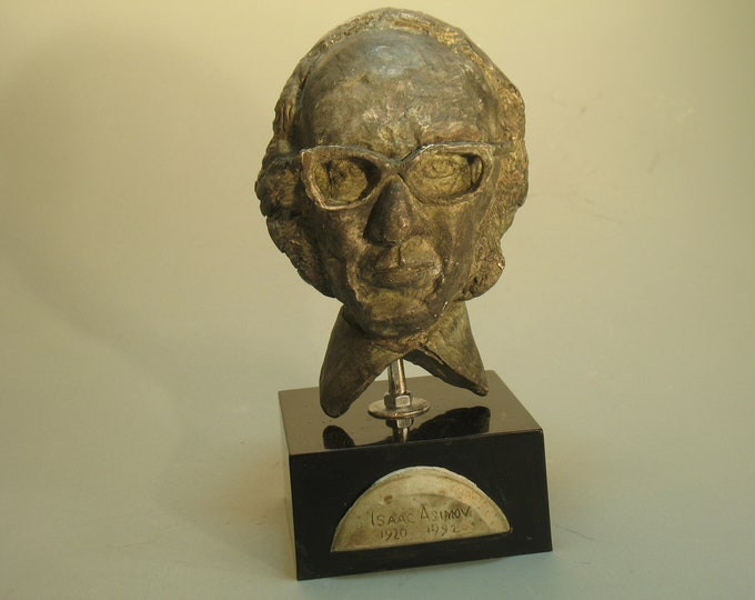 Asimov, Isaac Asimov bust on 1950's retro modernist wood base