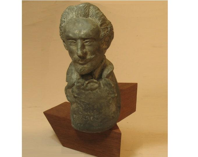 Jules Massenet - bronze patina on wood base