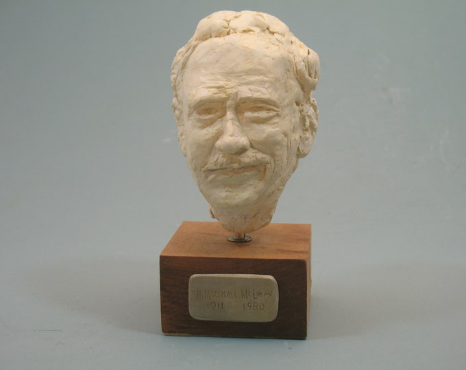 McLUHAN - bust of Marshall McCluhan: antique white or bronze patina