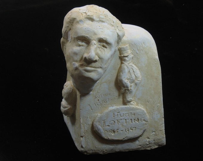 Lofting - bust of Hugh Lofting, father of Dr. DoLittle -antique white