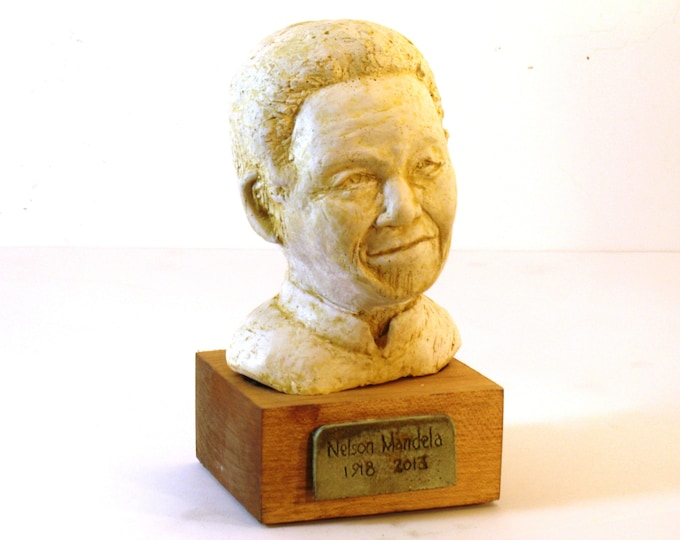 Mandela, bust of Nelson Mandela - bronze patina OR antique white