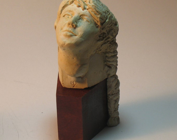 Amy Beach - American composer bust in hydrostone, antiqued white finish