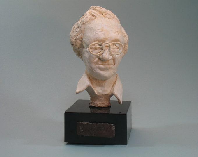 Chomsky - bust of Noam Chomsky with bronze patina. Cast #1