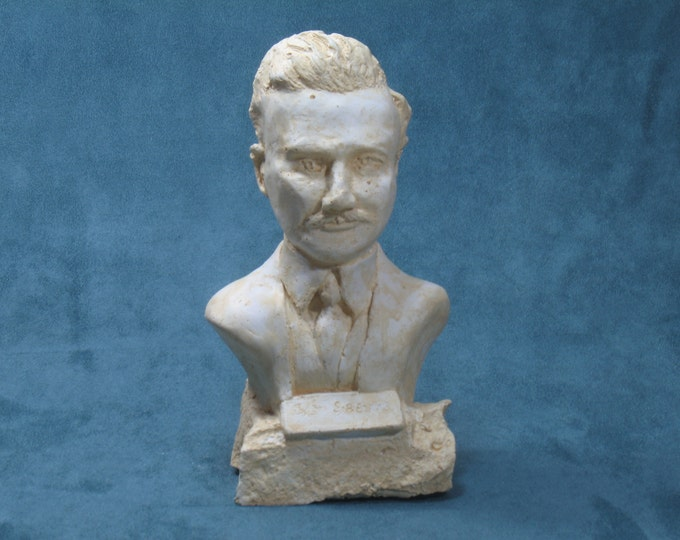 Sibelius- bust of Jean Sibelius in hydrocal plaster, antique white finish.