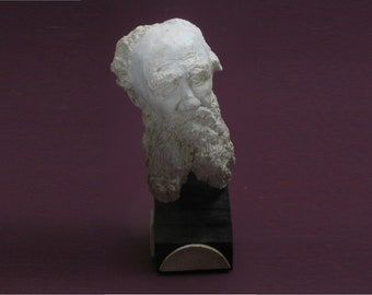 Tolstoy - bust of Count Lev Nikolaevich Tolstoy in high density plaster. Antique white