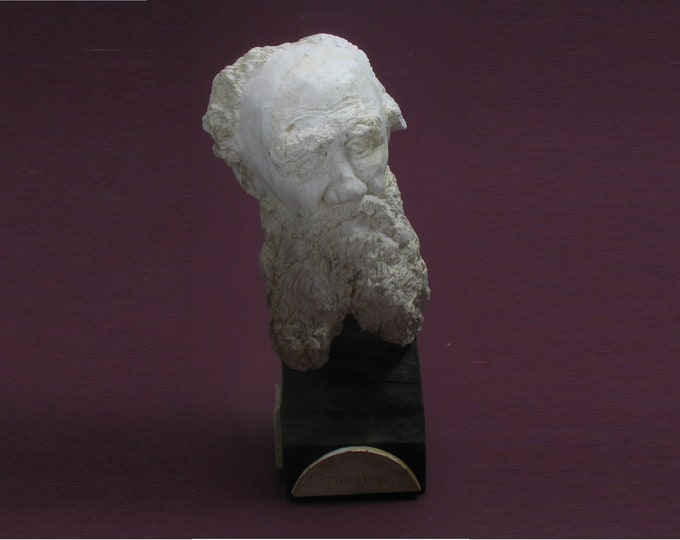 Featured listing image: Tolstoy - bust of Count Lev Nikolaevich Tolstoy in high density plaster. Antique white