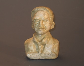 Nielsen - bust of Carl Nielsen - Danish composer hydrocal bust with antique white finish