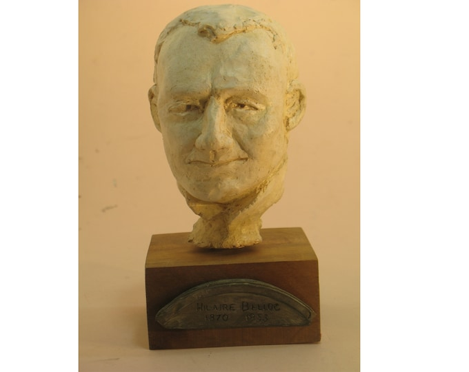 Belloc - bust of Hilaire Belloc, antique white