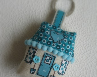Keyring turquoise cottage, key fob, keychain