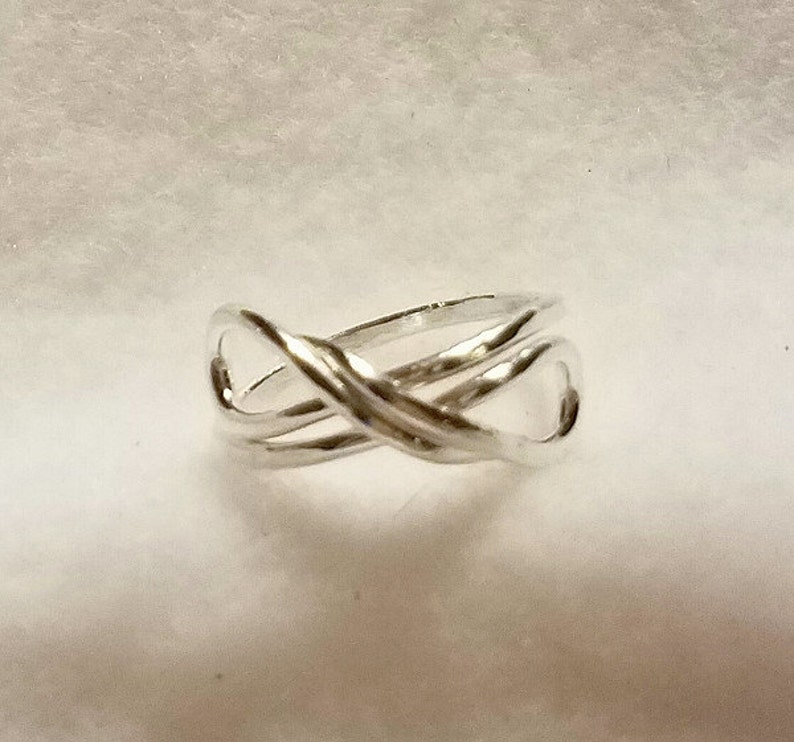 Fine Silver Infinity Ring.  14 gauge fine silver hand formed image 0