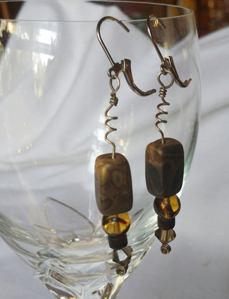 Brown agate beads with Czech pressed glass beads on a sterling image 0