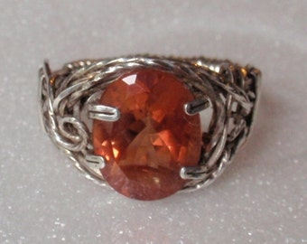 Rare Congolese Pink Andesine stone, 3 carat oval cut natural feldspar stone, intricate sterling silver set.  Size 7, cannot be resized..