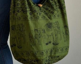 Olive Green Cotton Bag Handbags Elephant Bag Hippie Hobo Bag Boho Bag Shoulder Bag Sling Bag Messenger Bag Crossbody Purse
