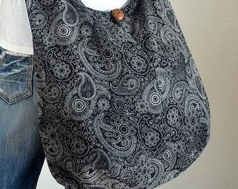 Black Paisley Cotton Bag Handbags Hippie Bag Hobo Bag Boho Bag Shoulder Bag Sling Bag Messenger Tote Bag Crossbody Bag Purse Women