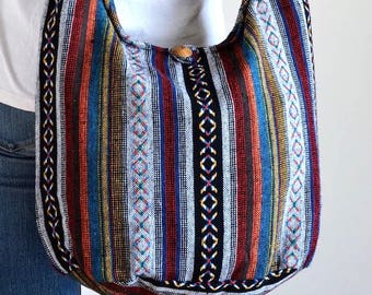Woven Bag Hippie Crossbody Messenger Bag Boho Hobo Bag Tribal Bag Cotton Handbags Purse NW6