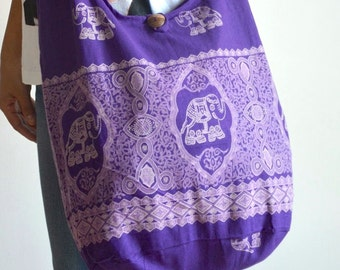 Lavender Hippie Elephant Bag Cotton Bag Crossbody Bag Hip Bag Tribal Bag Tote Bag Shoulder Bag Diaper Bag Boho Hobo Bag Messenger Bag Purse