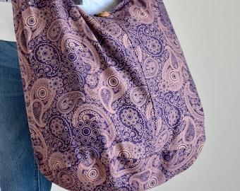 Purple Paisley Cotton Bag Handbags Hippie Bag Hobo Bag Boho Bag Shoulder Bag Sling Bag Messenger Tote Bag Crossbody Bag Purse Women