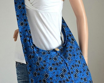 Floral Cotton Bag Handbags Beach Bag Hippie Hobo Bag Boho Bag Shoulder Bag Sling Bag Messenger Bag Crossbody Purse, Blue