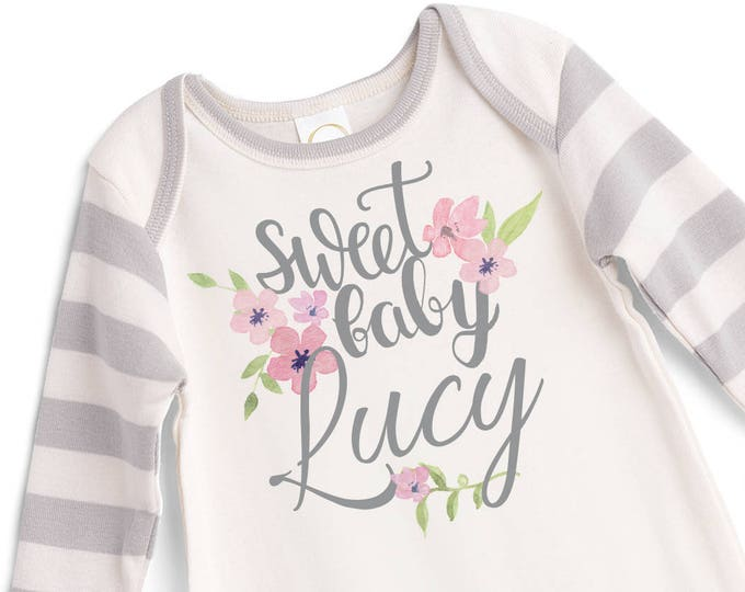 Personalized Baby Girl Coming Home Bodysuit Romper, Custom Take Home Name Romper, Customized Baby Girl Romper, Sweet Baby Girl TesaBabe