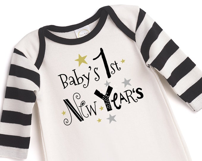 My First New Year's Baby Romper, Newborn Boy 1st New Years Outfit, Infant Newborn Baby New Year's Onesie, New Years Onesies Tesababe