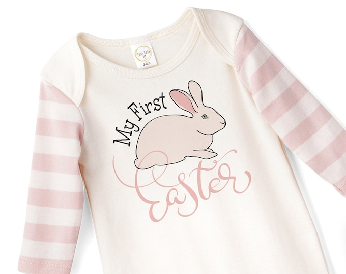 Baby Girl Easter Outfit, Baby Girl Easter Bunny Bodysuit, Infant Girl Easter Onesie, Newborn Easter Baby Girl Outfit, Pink, Tesababe