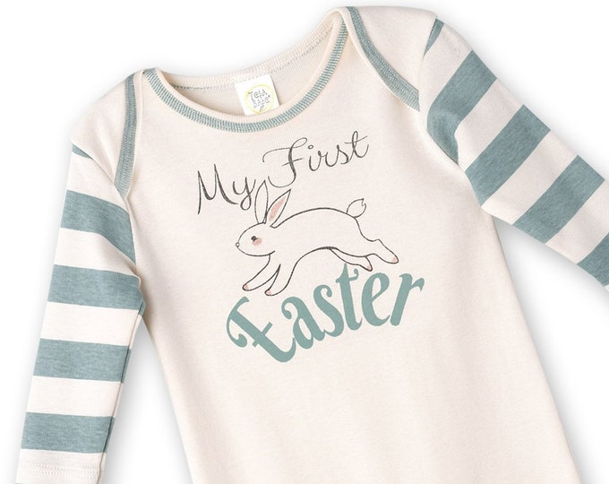 Baby Boy Easter Outfit, Baby Boy Easter Bunny Bodysuit, Infant Boy Easter Onesie, Newborn Easter Baby Boy Outfit, Aqua, Tesababe