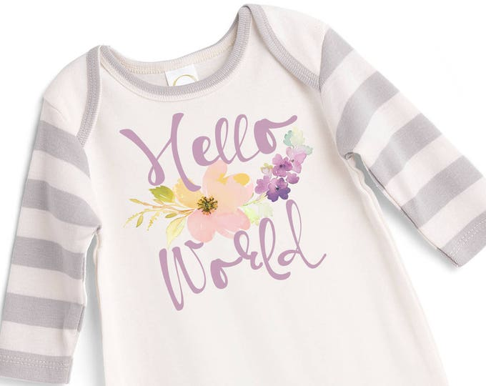 Newborn Girl Hello World Coming Home Outfit, Newborn Baby Girl Romper, Baby Girl Hello World Romper Rose Hat, Welcome Baby Romper TesaBabe