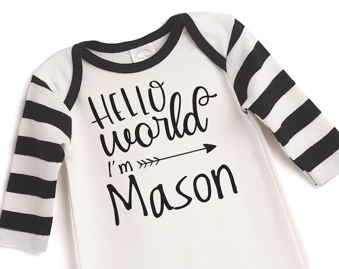 Personalized Newborn Boy Coming Home Outfit, Newborn Boy Take Home Outfit, Personalized Newborn Boy Outfit, Baby Black White Outfit TesaBabe