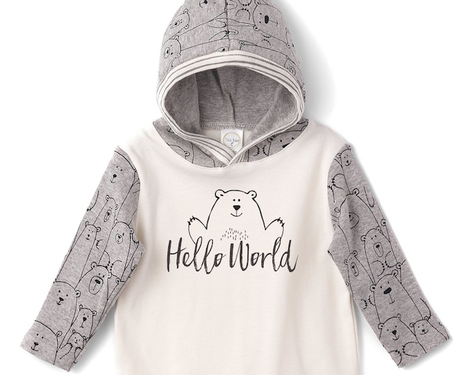 Baby Boy Hoodie Romper, Toddler Clothes, Hello World Baby Bear Hoodie Outfit, Newborn, Infant, Boy Hello World Hoodie, Infant Boy, TesaBabe