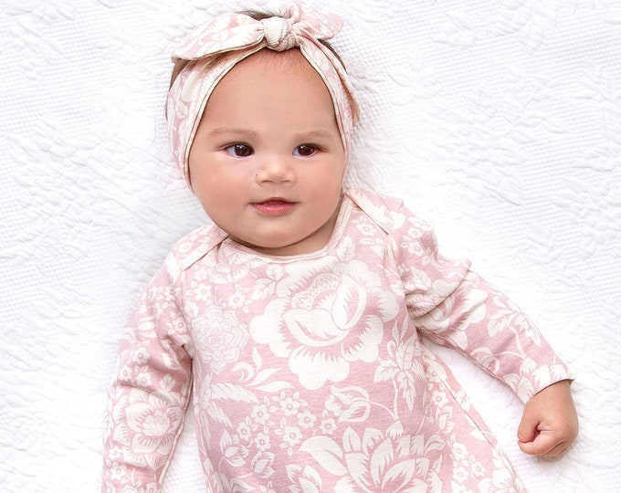 Newborn Girl Coming Home Outfit, Newborn Girl Outfit, Baby Girl Take Home Romper, Baby Girl Hat, Baby Girl Pink Floral Romper, Tesababe