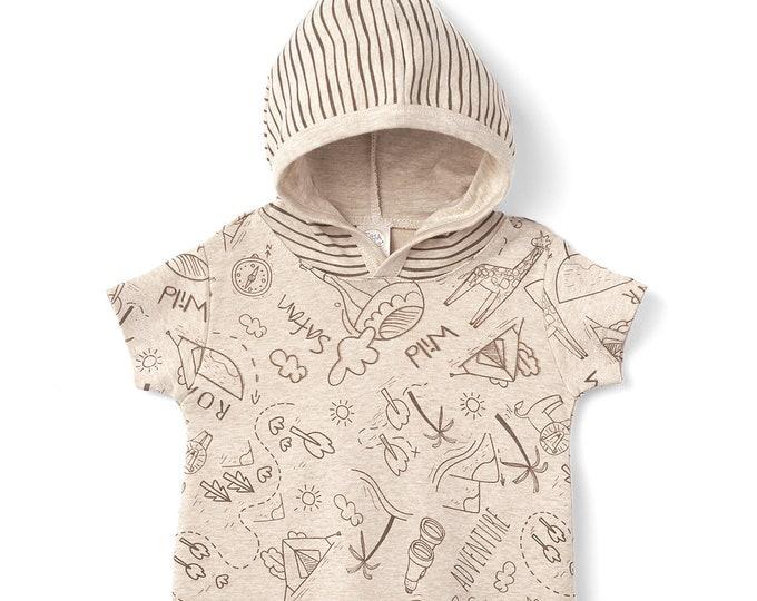 Baby Boy Hoodie Outfit, Adventure Baby Hoodie Romper Long Sleeve, Infant Baby Hoodie Jumpsuit Onesie 0 3 6 9 12 18 24 month Tesa Babe SS19-5