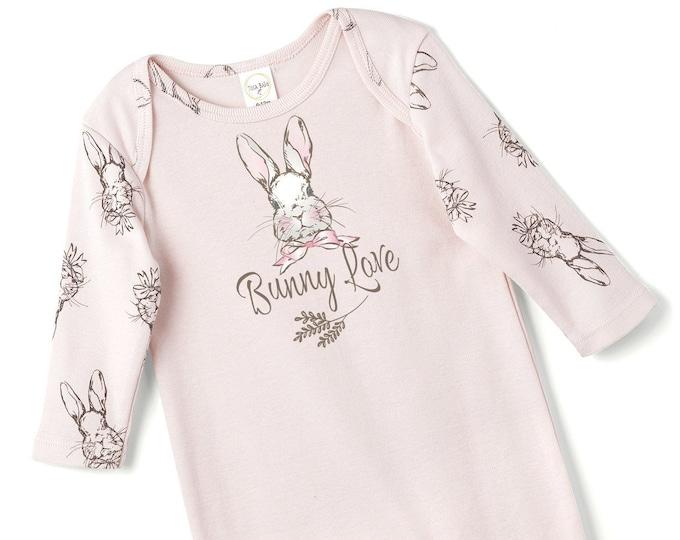 Easter Baby Girl Onesie, Newborn Bunny Romper, Baby Love Romper, Toddler Girl Romper, Infant Pink Onesie, Tesa Babe SS19-8