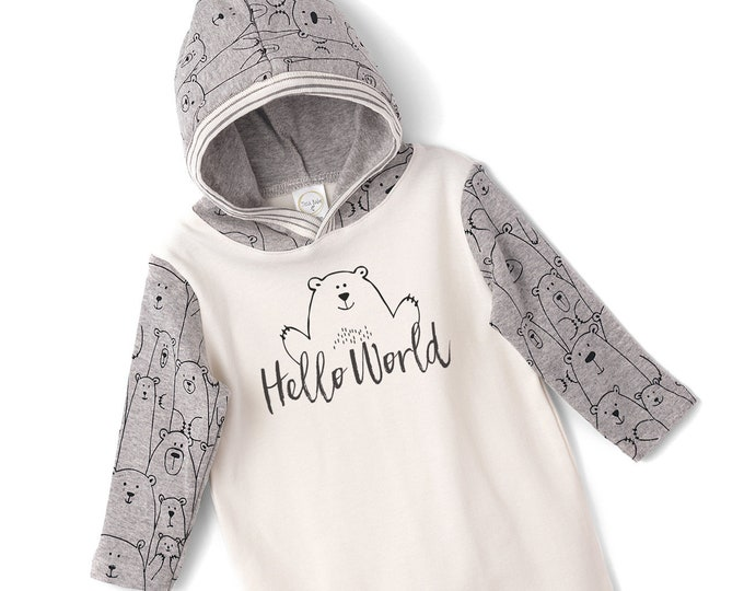 WHOLESALE Baby Boy Hoodie Romper, Infant Hoodie Outfit, Newborn Boy Outfit, Welcome Baby, Baby Bear, Baby Boy Hello World Hoodie, TesaBabe