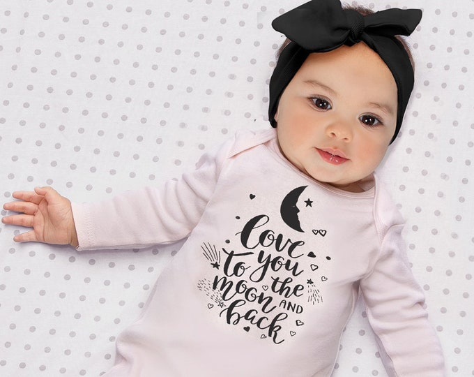 Baby Girl Romper, Newborn Girl Take Home Romper, Love You Moon Pink Baby Bodysuit, Pink Long Sleeve Romper, TesaBabe F85PP