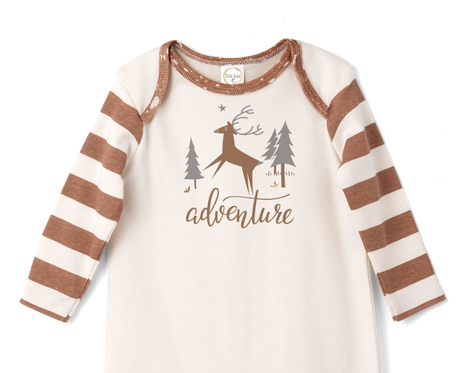 Baby Holiday Onesie, Newborn Boy Coming Home Outfit, Baby Boy Fall Romper, Infant Baby Outfit, Toddler, Woodland Forest Animals,  Tesa Babe