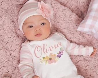 Baby Girl Romper Newborn girl Coming Home Outfit Newborn Girl Take Home Outfit Preemie Girl Outfits Monogram Baby Girl Gift Turban Hat