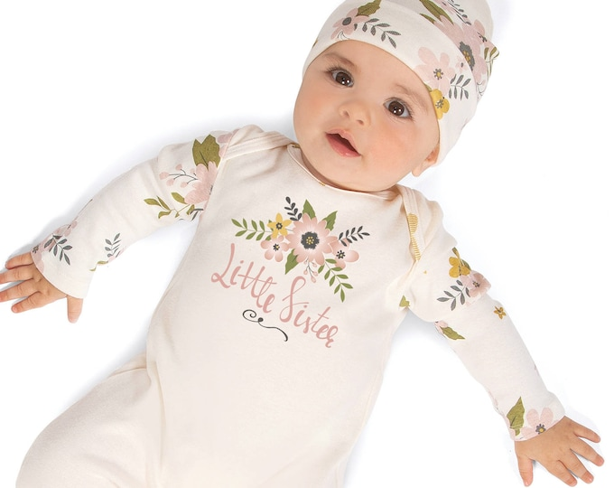 Little Sister Newborn Girl Coming Home Romper, Infant Girl Romper, Baby Girl Take Home Romper, Newborn Girl Little Sister Romper, Tesa Babe
