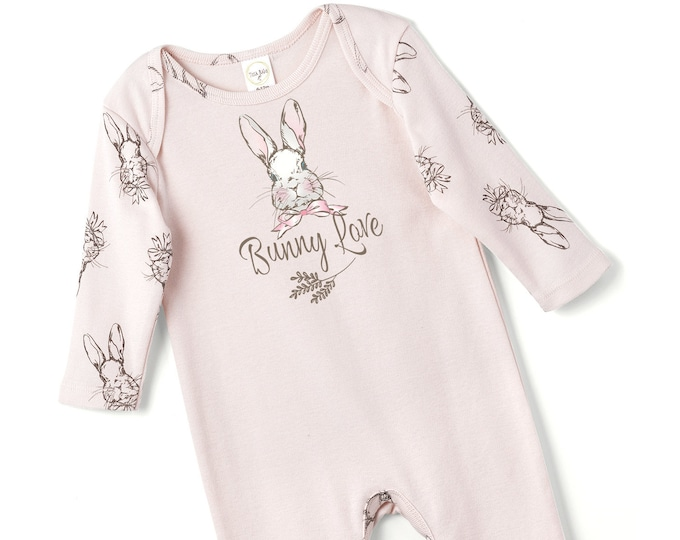 WHOLESALE Ships 1/15/19, Easter Baby Girl Onesie, Newborn Bunny Romper, Baby Love Romper, Toddler Girl Romper, Infant Pink Onesie, Tesa Babe