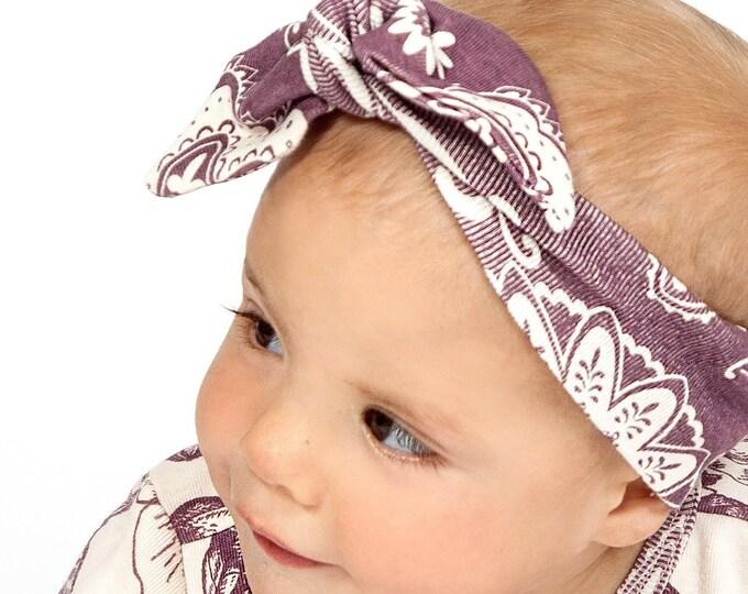 Baby Girl Headband, Newborn Girl Headband, Infant Baby Headband, Baby Girl Clothes, Purple Baby Bow Headband, Plum Floral Baby Bow TesaBabe