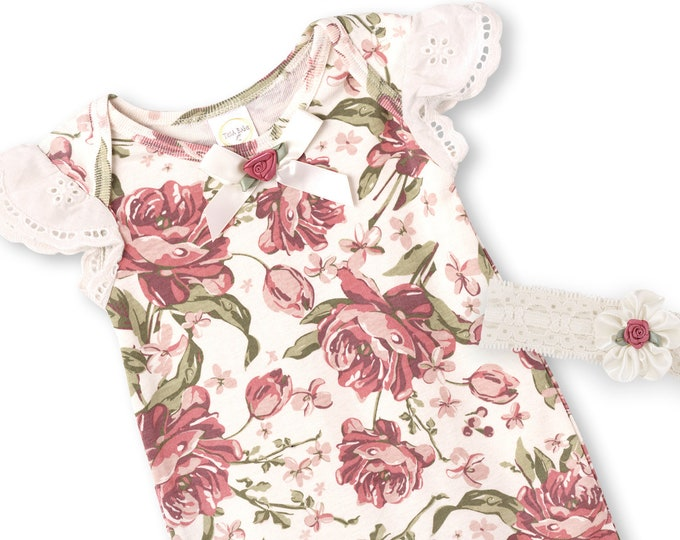 Newborn Baby Girl Coming Home Outfit, Baby Girl Lace Romper, Infant Girl, Newborn Baby Girl Floral Romper, Baby Girl Lace Onesie, Tesababe