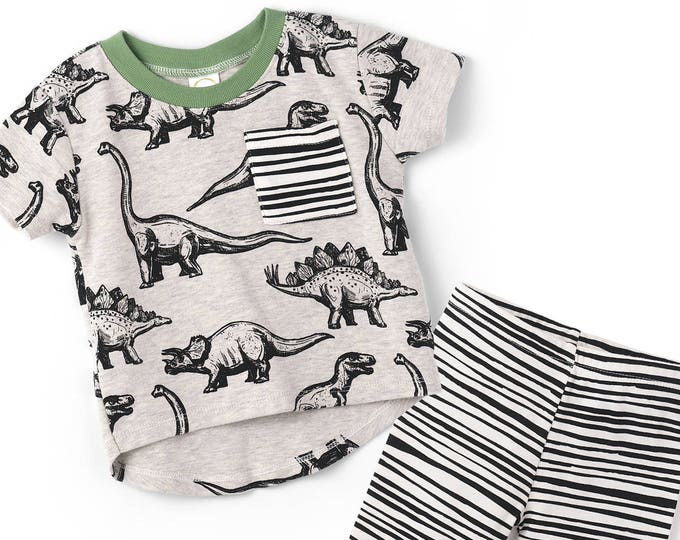 SPRING SALE! Dinosaur Baby Boy Outfit, Baby Boy Dinosaur Top Bottom, Baby Leggings, Newborn, Dinosaur Baby Clothes, Heather Gray, TesaBabe