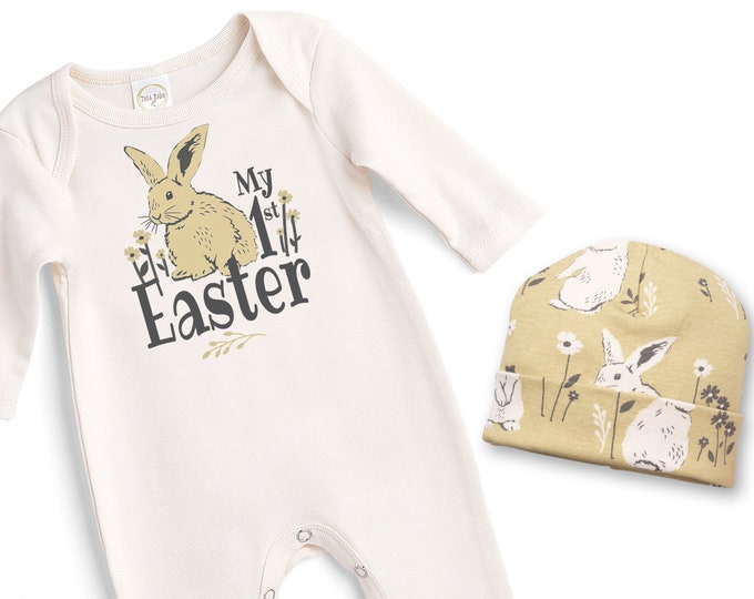 Baby Girl Easter Outfit, Baby Girl Easter Bunny Bodysuit, Infant Girl Easter Onesie, Newborn Easter Baby Girl Outfit, Yellow, Tesababe
