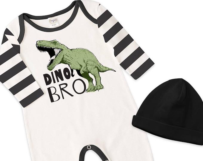 Newborn Boy Take Home Romper, Baby Boy Dinosaur Romper, Baby Boy Black Stripe Bodysuit Hat, Little Brother, TesaBabe