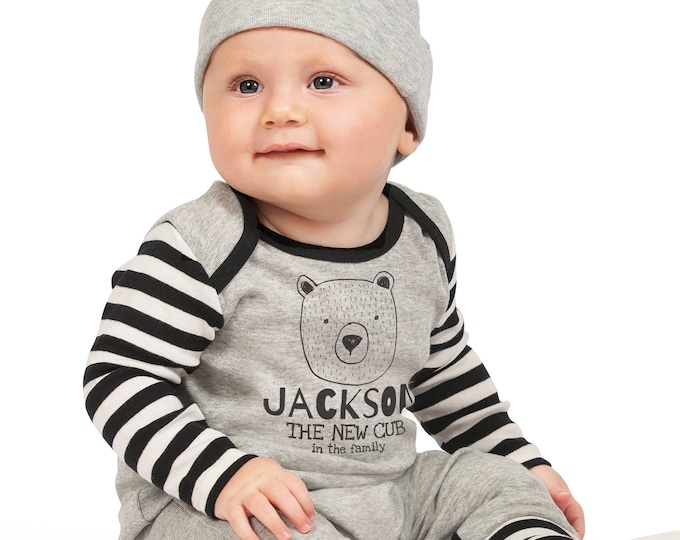 Personalized Baby Boy Take Home Bodysuit Romper, Baby Name Romper, Customized Baby Boy New Cub Romper, TesaBabe RC810HGIBS0000 boy pers