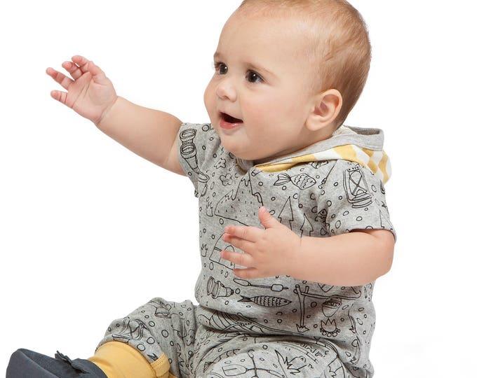 SALE! Baby Hoodie Romper, Baby Boy Hoodie Onesie Romper, Baby Hoodie Onesie, Baby Hooded Romper, Short Sleeve Romper, Happy Camper