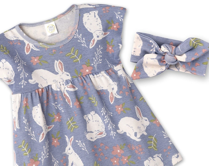 Baby Easter Dress, Baby Girl Dress, Newborn Bunnies Girl Dress, Toddler Dress, Baby Dress, Baby Girl Dress, Blue, TesaBabe