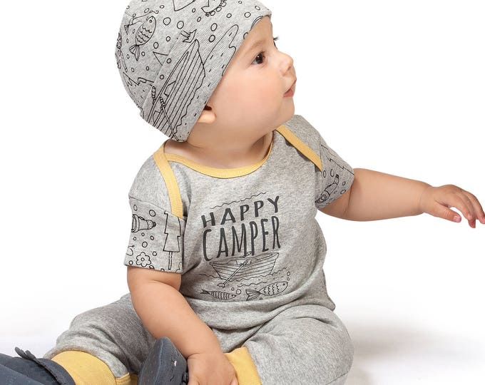 SPRING SALE! Newborn Baby Boy Outfit Summer, Baby Boy Onesie Outfit, Boy Romper, Baby Happy Camper Bodysuit, Infant Short Sleeve Baby Romper