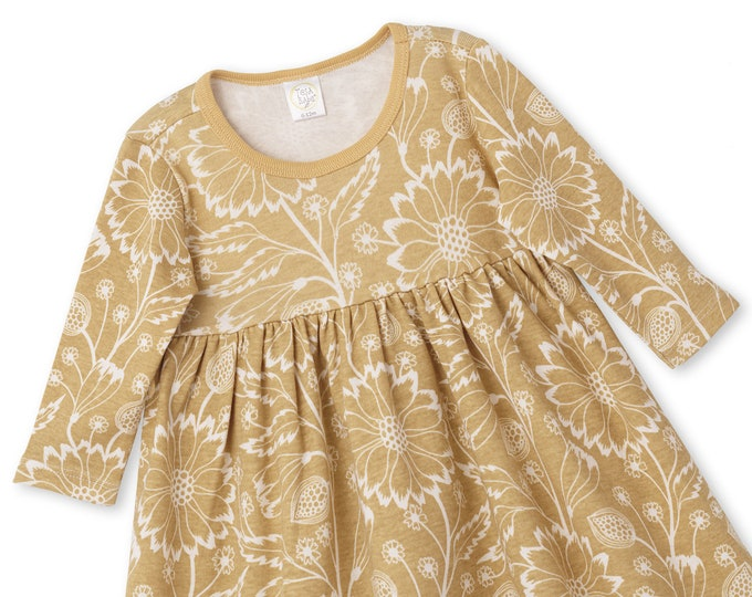 Yellow Gold Baby Girl Dress, Newborn Flower Girl Dress, Toddler Long Sleeve Dress, Baby Floral Dress, Thanksgiving Dress, Yellow, TesaBabe
