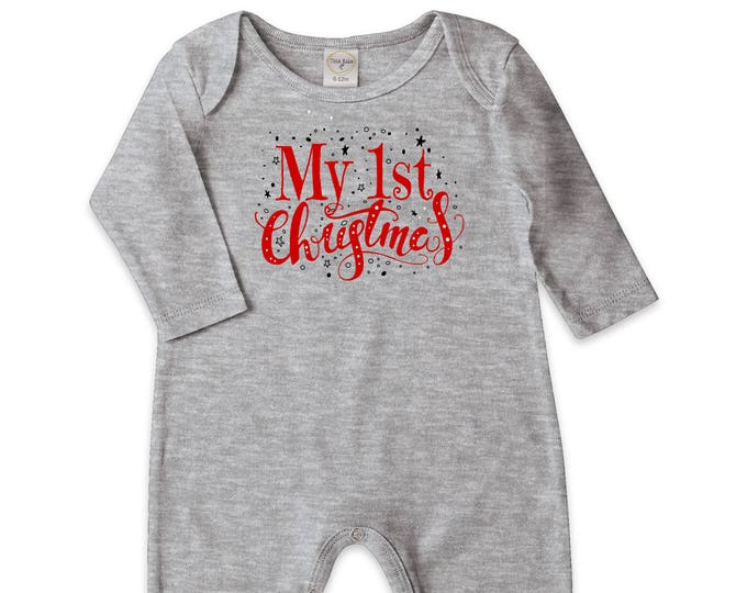 Newborn My First Christmas Romper Gray, Baby Neutral Christmas Bodysuit, Baby Christmas Onesie, 1st Christmas Baby Romper, Tesababe